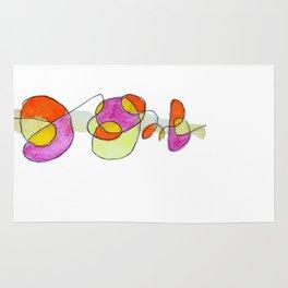 Garabatos naranjas y lilas Rug