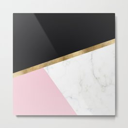 Glam blush marble geo Metal Print