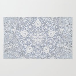 Baroque Garden, White on Blue, Watercolor Ornate Pattern Rug