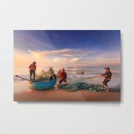 Fisherman Pulling in the Nets Metal Print