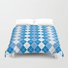 Argyle Design in Blue and White Duvet Cover