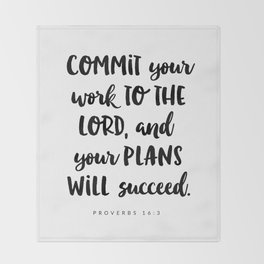 Proverbs 16:3 - Bible Verse Throw Blanket