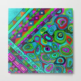 Abstract ethnic pattern in blue and turquoise tones . Metal Print