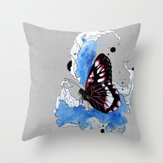 Butterfly III ink by carographic, Carolyn Mielke Throw Pillow