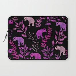 Watercolor Flowers & Elephants III Laptop Sleeve