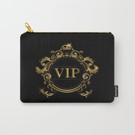 VIP In Black and Goldtone Carry-All Pouch