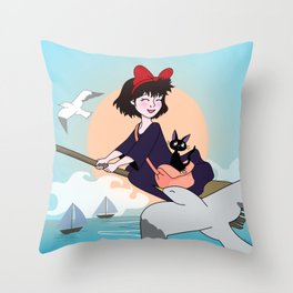 Kiki and her cat Throw Pillow