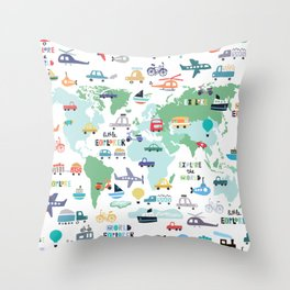 Travel The World Trains Planes Cars Trucks Map Throw Pillow