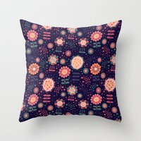 flora Throw Pillows featuring Flora by Valendji