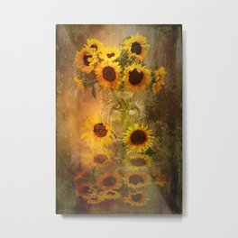 Sunflowers And Rust Metal Print