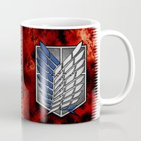 shingeki no kyojin Mugs featuring shield of shingeki  by Blaze-chan