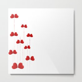 background of red hearts on stalks isolated on white background Metal Print