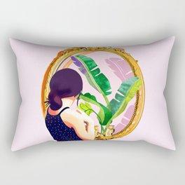 Soul Mirror, Instrospection Mindful Mood Illustration, Tropical Banana Leaves Woman Portrait Gold Rectangular Pillow