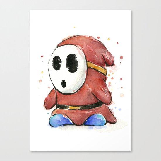 Shy Guy Watercolor Mario Art Canvas Print