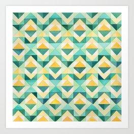 Quilted Diamond // Geometric Watercolor Pattern Art Print