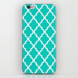 Aqua Moroccan Quatrefoil Pattern iPhone Skin