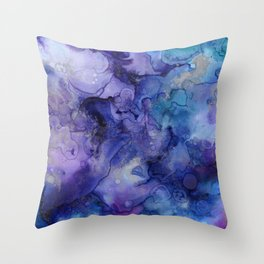 Abstract Watercolor and Ink Throw Pillow