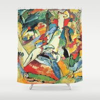 "kandinsky Shower Curtains featuring Vasily Kandinsky Sketch for ""Composition II"" by Artlala for MSF Doctors Without Borders"