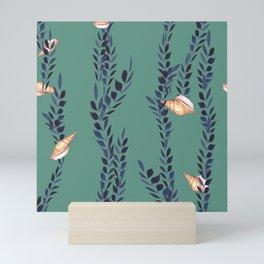 Watercolor shells with seaweed Mini Art Print