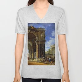 Giovanni Paolo Pannini Masterpiece: Circe Entertaining Odysseaus at a Banquet Unisex V-Neck