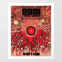 2001 a space odyssey Art Prints featuring 2001: A Space Odyssey  by Michael Kemp