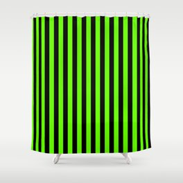 Bright Green and Black Vertical Stripes Shower Curtain