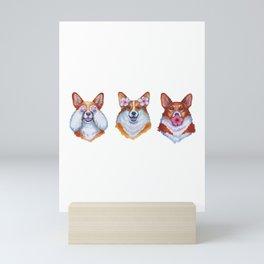 Three wise corgies Mini Art Print