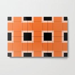 White Hairline Squares in Orange Metal Print