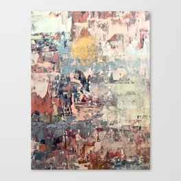 Mirage [1]: a vibrant abstract piece in pinks blues and gold by Alyssa Hamilton Art Canvas Print