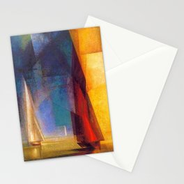 Classical Masterpiece 'Stiller Tag am Meer III' by Lyonel Feininger Stationery Cards