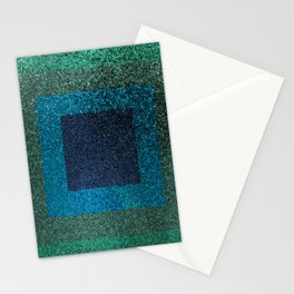 Glitter Green Blue Squares Stationery Cards