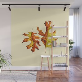 Ink And Watercolor Painted Dancing Autumn Leaves Wall Mural