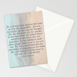 She Was Beautiful By F. Scott Fitzgerald 4 #painting #minimalism #poem Stationery Cards