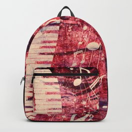 Illustration of a piano keys with musical notes and red rose Backpack