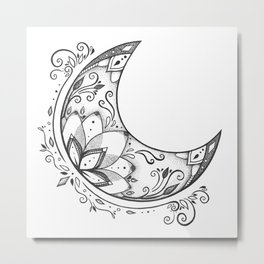 Ornamental Crescent Moon Lotus Metal Print