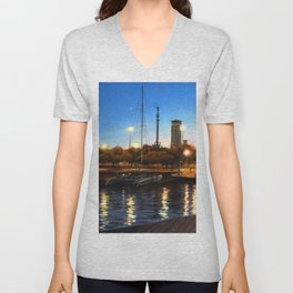 Sunset and citylights in the port of Barcelona Unisex V-Neck
