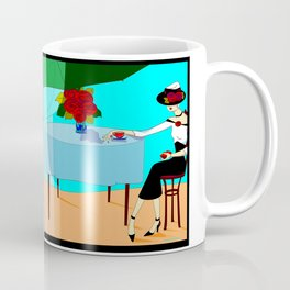 A Fashionable White Haired Lady having Coffee Outdoors Cafe Coffee Mug