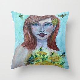Dandelion Girl Watercolor Throw Pillow
