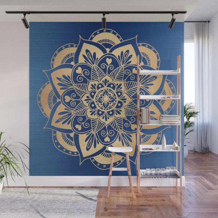 Blue and Gold Flower Mandala Wall Mural
