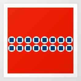 Retro Beaded Bracelet Pop Art - Red White Blue Art Print