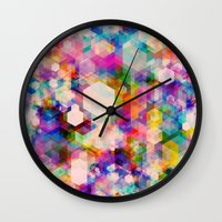 stickers Wall Clocks featuring Bitmap by Simon C Page