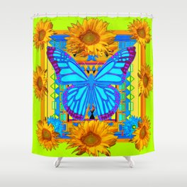Lime Sunflower Blue Butterfly Floral Shower Curtain