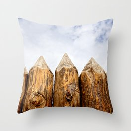 Sharpened Ends Of Rough Wooden Poles Of A Medieval Palisade Throw Pillow