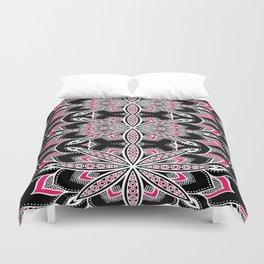 Black White Pink Flower Panel Art Duvet Cover