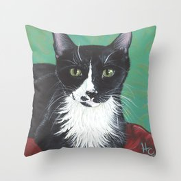 Nicky the black and white cat Throw Pillow