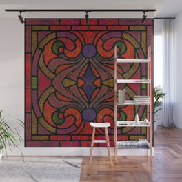 Art Nouveau Glowing Stained Glass Window Design Wall Mural