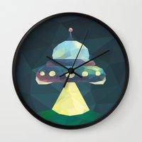 spaceship Wall Clocks featuring Spaceship. by Dani Does Art