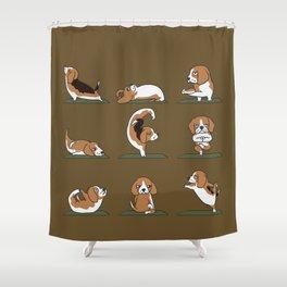 Beagle Yoga Shower Curtain