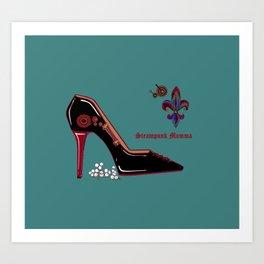 A Steampunk Pump, Stiletto, Steampunk Momma Art Print