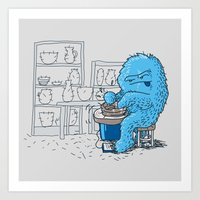 potter Art Prints featuring Hairy Potter by awkwardyeti